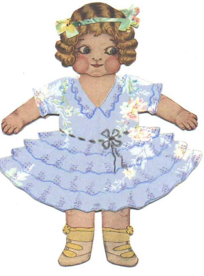 Small Paper Doll in Blue Dress